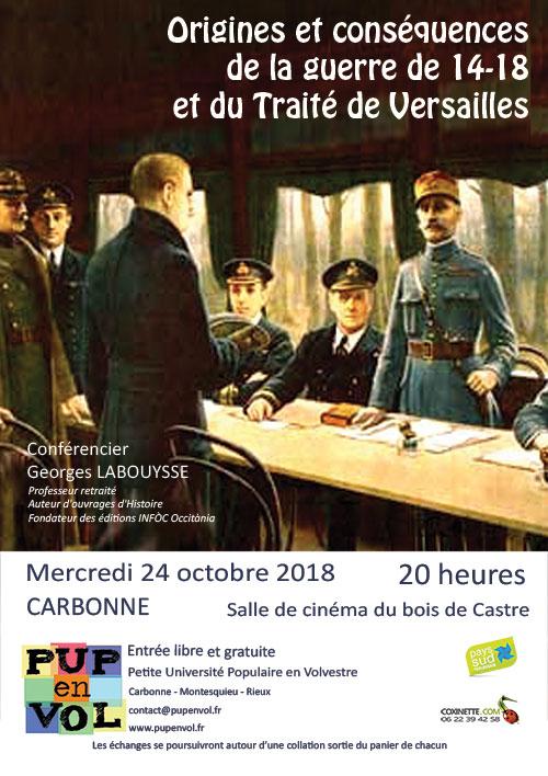 Origines et conséquences de la guerre de 14-18 et du Traité de Versailles